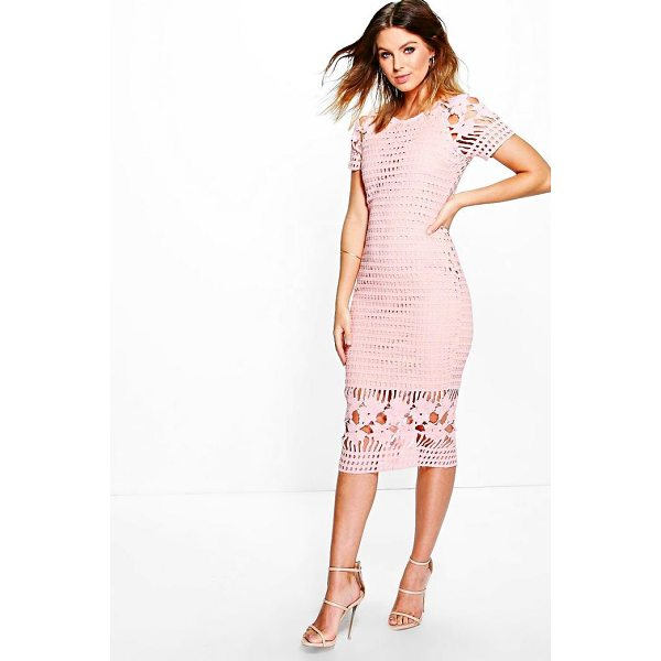 BOOHOO Amy All Over Crochet Border Detail Midi Dress - Dresses are the most-wanted wardrobe item for day-to-night...