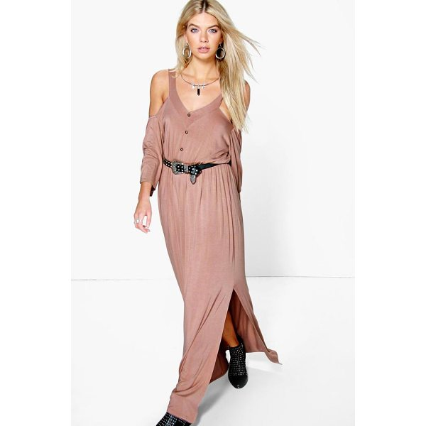 BOOHOO Amy Button Front Cold Shoulder Maxi Dress - Dresses are the most-wanted wardrobe item for day-to-night...