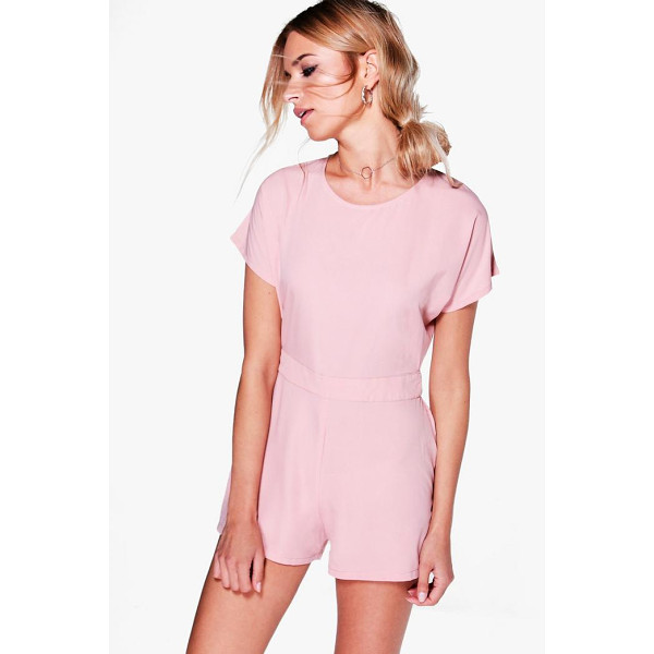 BOOHOO Amy Capped Sleeve Solid Colour Playsuit - Perfect for day or play, a playsuit will solve your...