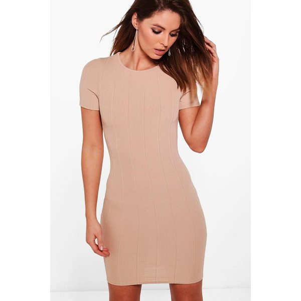BOOHOO Amy Ribbed Short Sleeve Bodycon Dress - Dresses are the most-wanted wardrobe item for day-to-night...