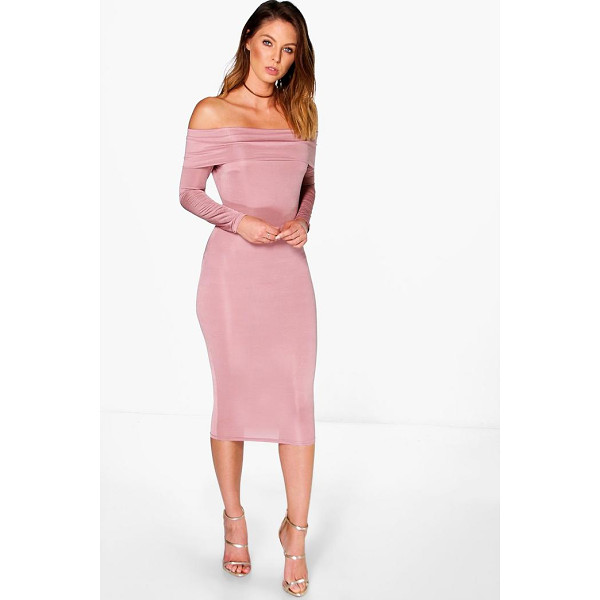BOOHOO Amy Slinky Oversized Off The Shoulder Midi Dress - Get dance floor-ready in an entrance-making evening...