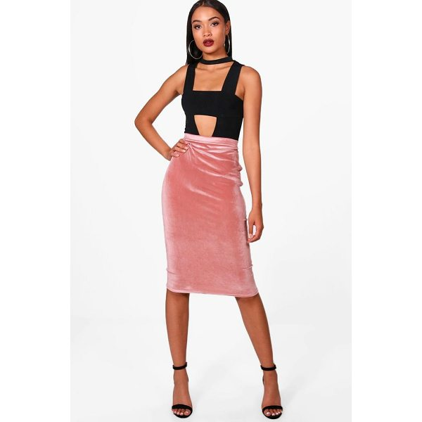 BOOHOO Amy Velvet Bodycon Midi Skirt - Skirts are the statement separate in every wardrobe This...