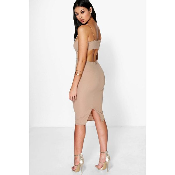 BOOHOO Ania Square Neck Wide Back Strap Midi Dress - Dresses are the most-wanted wardrobe item for day-to-night...