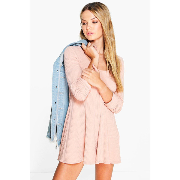 BOOHOO Anii Ribbed Long Sleeve Swing Playsuit - Perfect for day or play, a playsuit will solve your style...