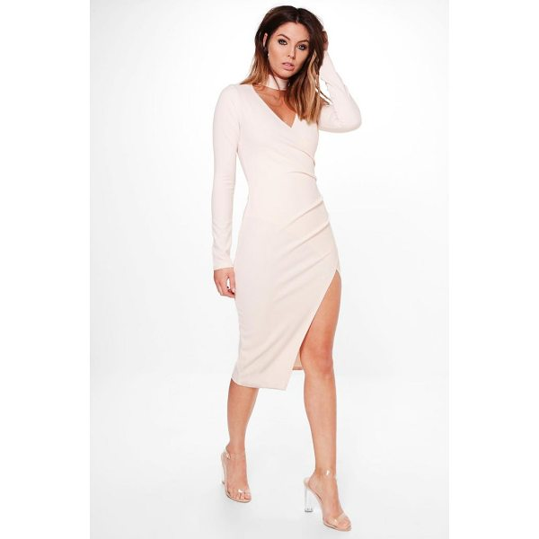 BOOHOO Anna Choker Wrap Long Sleeve Midi Dress - Dresses are the most-wanted wardrobe item for day-to-night...
