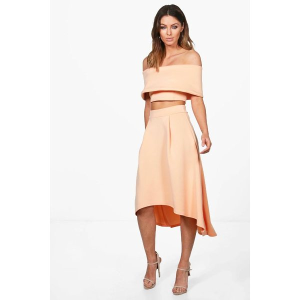 BOOHOO Anna Off Shoulder Crop & Dip Hem Co-ord Set - Co-ordinates are the quick way to quirky this seasonMake...