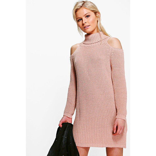 BOOHOO Anna Roll Neck Cold Shoulder Jumper Dress - Nail new season knitwear in the jumpers and cardigans that...