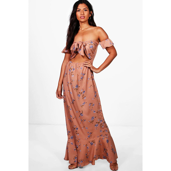 BOOHOO Anna Tie Front Ruffle Hem Maxi Dress - Dresses are the most-wanted wardrobe item for day-to-night...