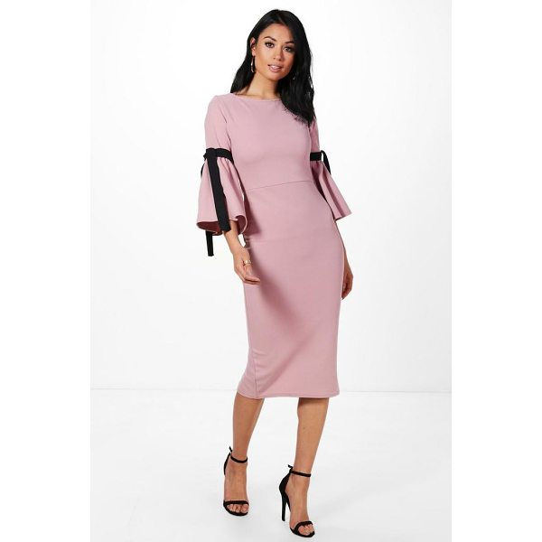 BOOHOO Annabel Tie Sleeve Midi Dress - Dresses are the most-wanted wardrobe item for day-to-night...