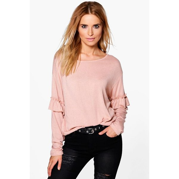 BOOHOO Annabelle Ruffle Sleeve Jumper - Nail new season knitwear in the jumpers and cardigans that...