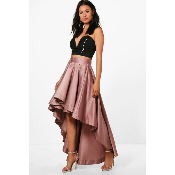 BOOHOO Annia Satin Dipped Hem Full Maxi Skirt - Skirts are the statement separate in every wardrobe This...
