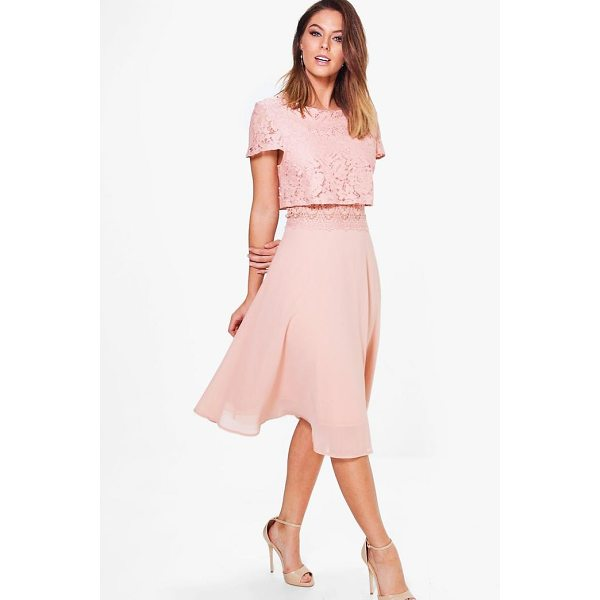 BOOHOO Annie Lace Top Chiffon Skater Dress - Dresses are the most-wanted wardrobe item for day-to-night...