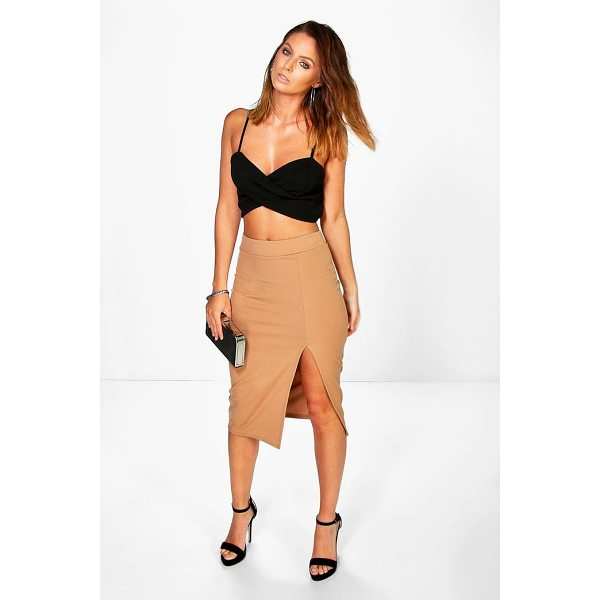 BOOHOO Arayah Scuba Thigh Split Midi Skirt - Skirts are the statement separate in every wardrobe This...