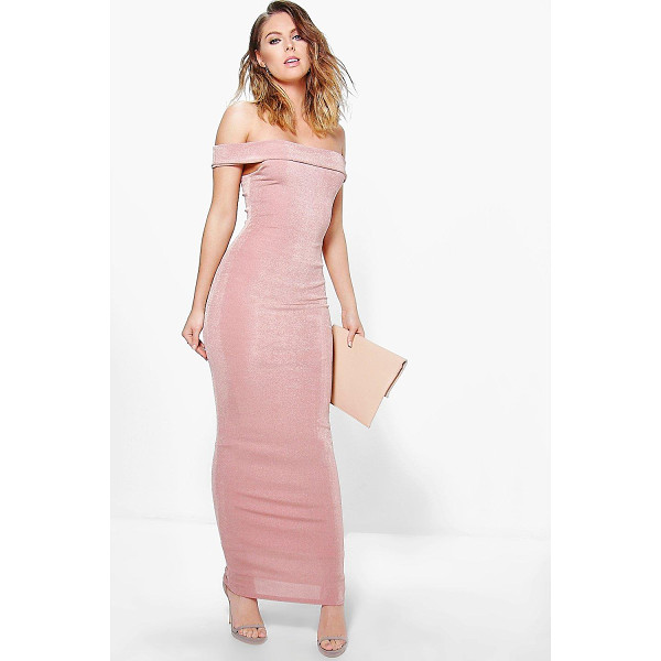 BOOHOO Arbella Textured Slinky Off The Shoulder Maxi Dress - Get dance floor-ready in an entrance-making evening...