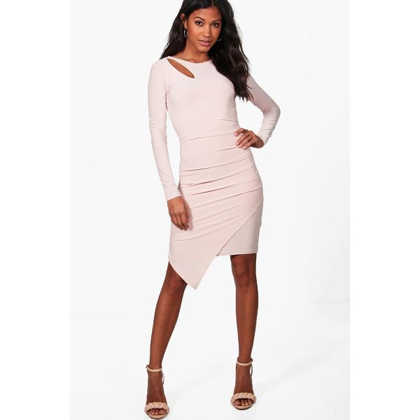 BOOHOO Aria Slinky Ruched Detail Long Sleeve Bodycon Dress - Dresses are the most-wanted wardrobe item for day-to-night...