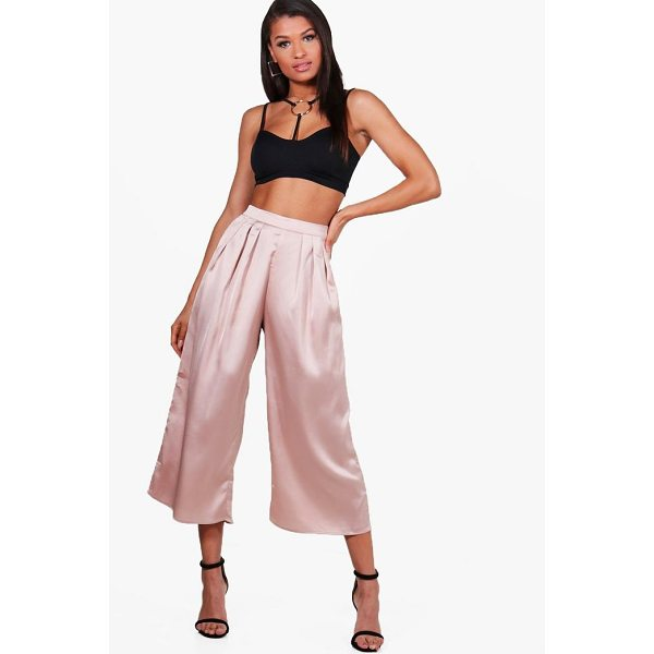 BOOHOO Arianna Pleat Front Satin Wide Leg Culottes - Trousers are a more sophisticated alternative to...