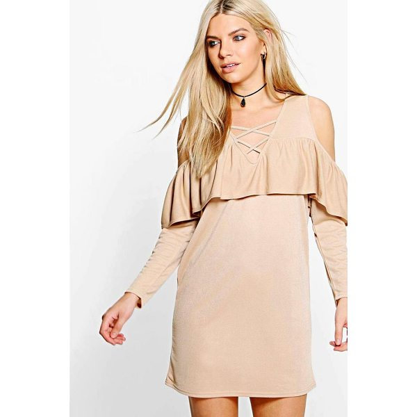 BOOHOO Ash Lace Up Cold Shoulder Ruffle Shift Dress - Dresses are the most-wanted wardrobe item for day-to-night...