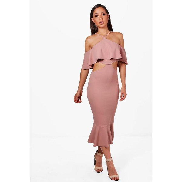 BOOHOO Ash Strappy Frill Detail Cut Out Midi Dress - Dresses are the most-wanted wardrobe item for day-to-night...