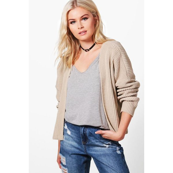 BOOHOO Ashley Oversized Rib Crop Cardigan - Nail new season knitwear in the jumpers and cardigans that...