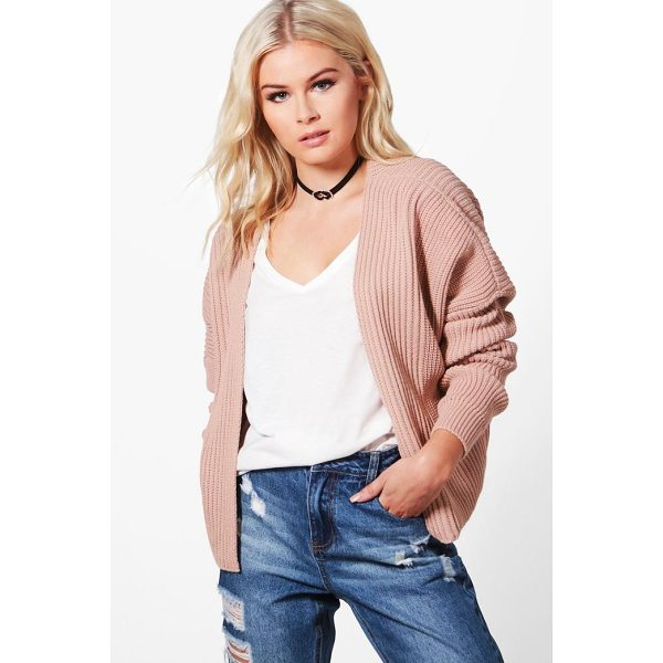 BOOHOO Ashley Oversized Rib Cropped Cardigan - Nail new season knitwear in the jumpers and cardigans that...