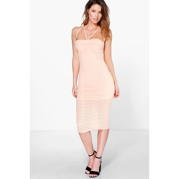 BOOHOO Astrid Rib Mesh Panel Strappy Midi Dress - Dresses are the most-wanted wardrobe item for day-to-night...