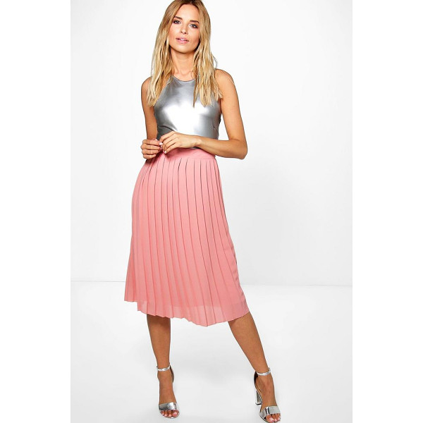 BOOHOO Aura Pleated Chiffon Midi Skirt - Skirts are the statement separate in every wardrobe This...