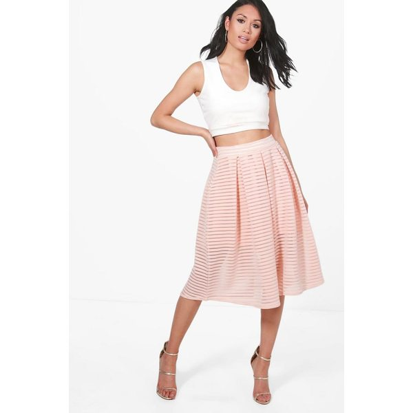 BOOHOO Aura Sheer Mesh Stripe Box Pleat Skater Skirt - Skirts are the statement separate in every wardrobe This...