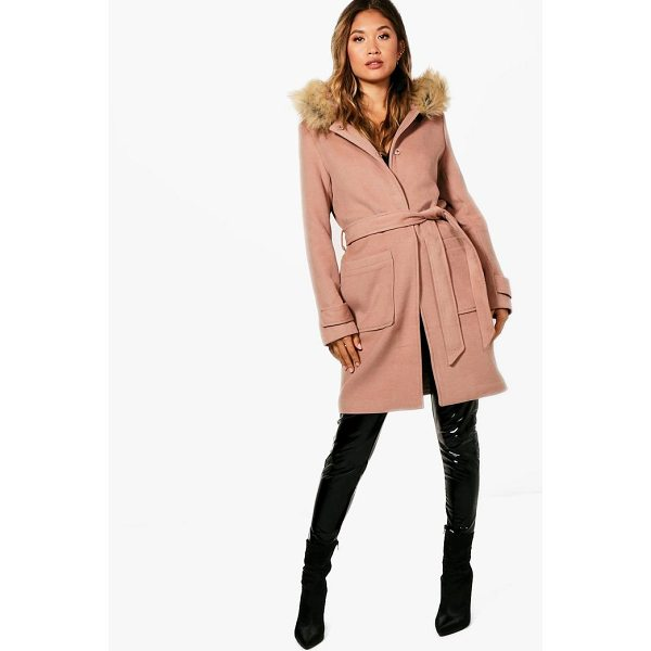 BOOHOO Ava Belted Faux Fur Trim Hood Coat - Wrap up in the latest coats and jackets and get out-there...