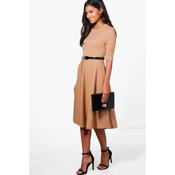 BOOHOO Ava Belted Midi Skater Dress - Dresses are the most-wanted wardrobe item for day-to-night...