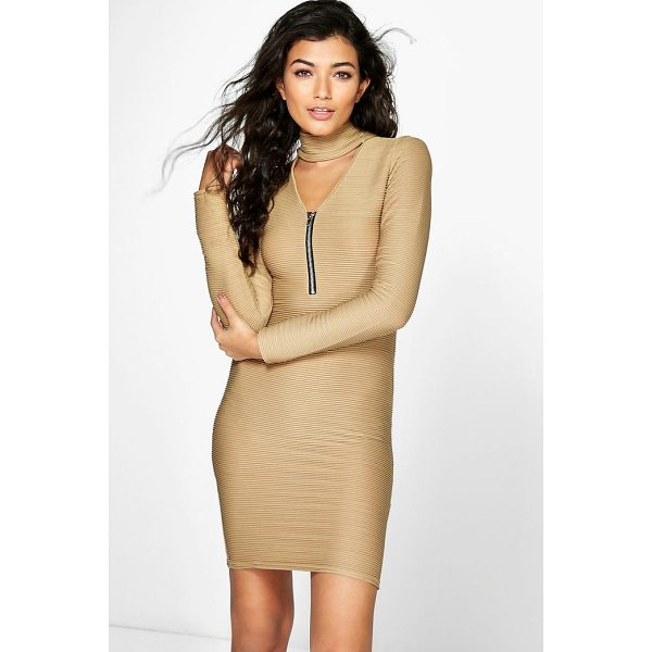 BOOHOO Ava Choker PlungeZip Bodycon Rib Dress - Dresses are the most-wanted wardrobe item for day-to-night...