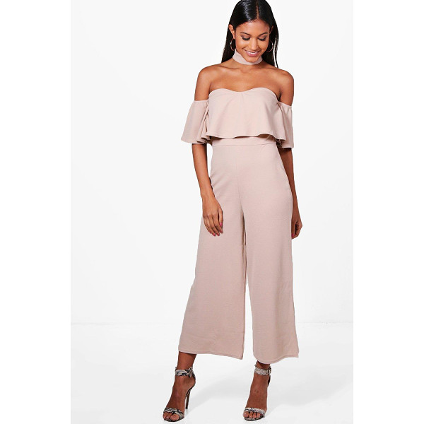 BOOHOO Ava Off The Shoulder Ruffle Culotte Jumpsuit - Jump start your new season wardrobe with the always chic...