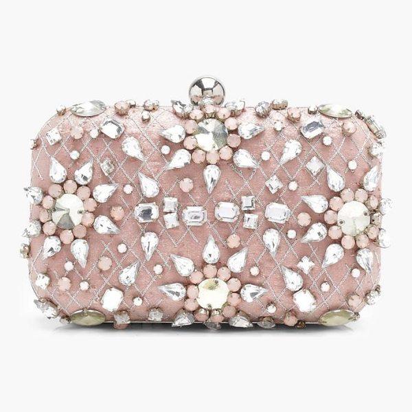 BOOHOO Ava Premium Embellished Diamante Box Clutch Bag - Add attitude with accessories for those fashion-forward...