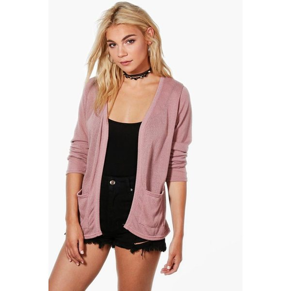 BOOHOO Ava Soft Knit Edge to Edge Cardigan With Pockets - Nail new season knitwear in the jumpers and cardigans that...