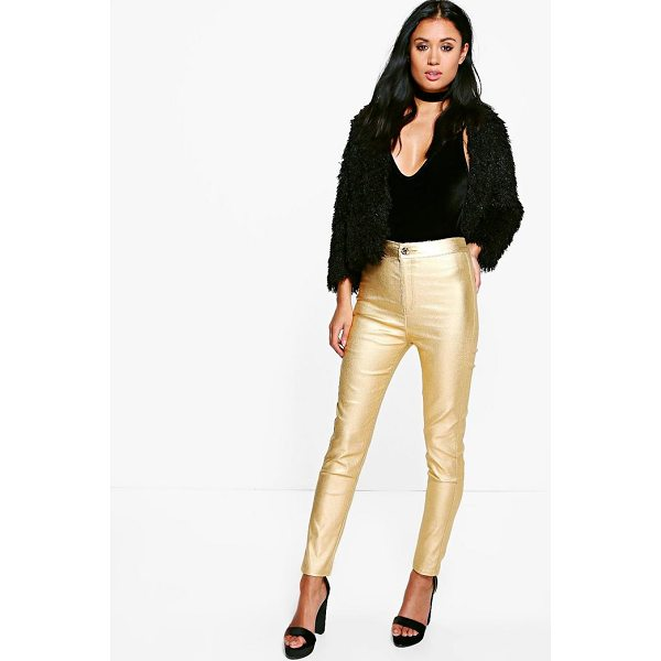 BOOHOO Avah Metallic Coated Super Skinny Highwaist Trousers - Trousers are a more sophisticated alternative to...