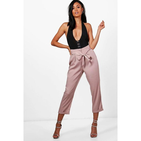 BOOHOO Ayah High Waist Belted Cropped Trousers - Trousers are a more sophisticated alternative to...