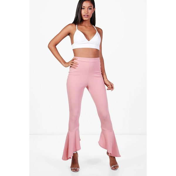 BOOHOO Ayla Crepe Dipped Ruffle Hem Trousers - Trousers are a more sophisticated alternative to...