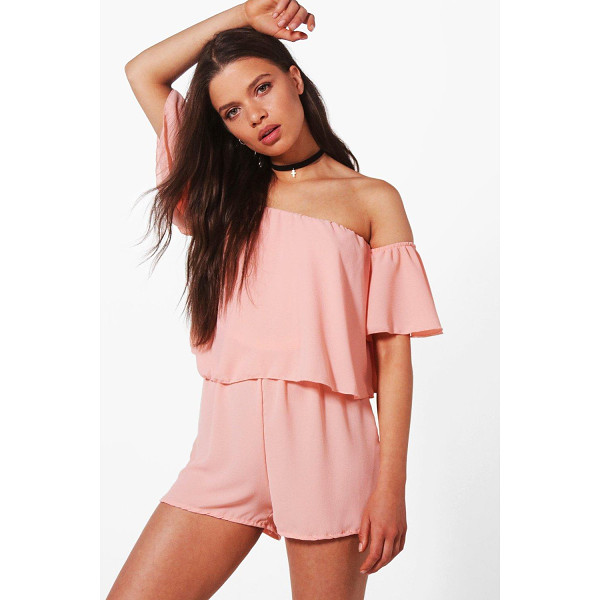 BOOHOO Aylin Off shoulder Ruffle Sleeve Playsuit - If you need a short cut to a killer outfit, the playsuit is...
