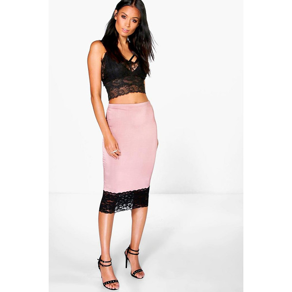 BOOHOO Azalea Lace Trim Slinky Midi Skirt - Party with your pins out in a statement evening skirtSteal...