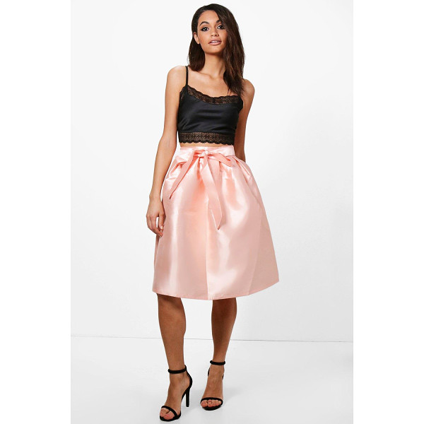 BOOHOO Azaria Bow Front Woven Box Pleat Midi Skirt - Skirts are the statement separate in every wardrobe This...