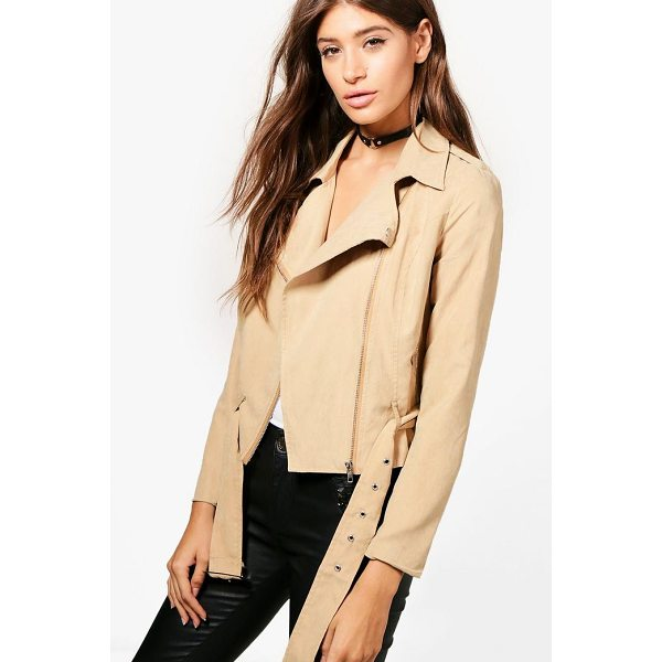 BOOHOO Bea Belted Suedette Biker - Wrap up in the latest coats and jackets and get out-there...