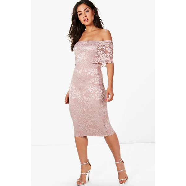 BOOHOO Beatrice Lace Off Shoulder Midi Dress - Dresses are the most-wanted wardrobe item for day-to-night...