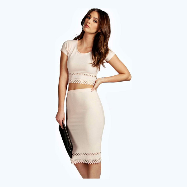 BOOHOO Beatrix Cap Sleeved Cut Work Midi Co-Ord Set - Co-ordinates are the quick way to quirky this seasonMake...