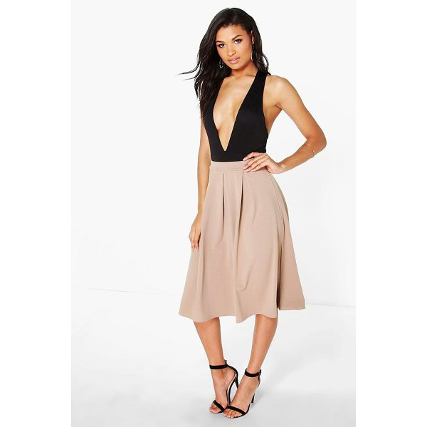 BOOHOO Beau Scuba Box Pleat Midi Skirt - Skirts are the statement separate in every wardrobe This...