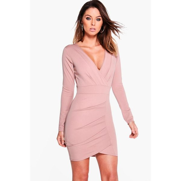 BOOHOO Becki Pleat Detail Wrap Bodycon Dress - Dresses are the most-wanted wardrobe item for day-to-night...