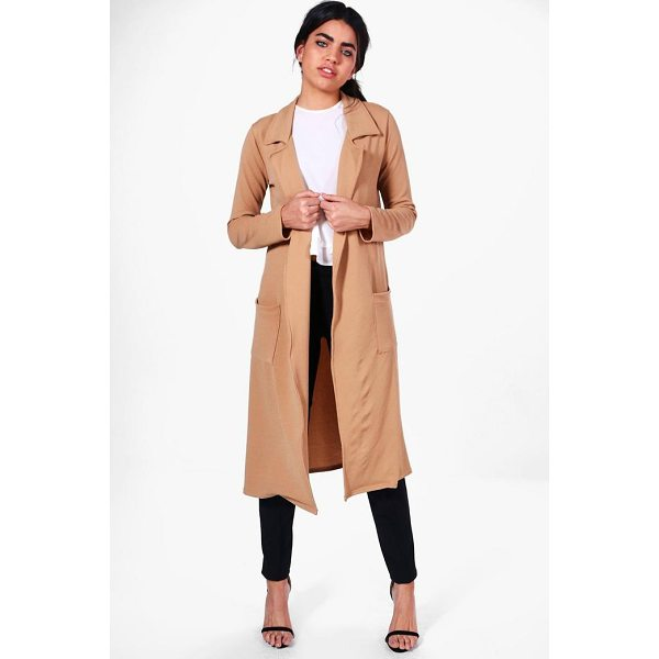 BOOHOO Bella Belted Pocket Longline Duster - Wrap up in the latest coats and jackets and get out-there...