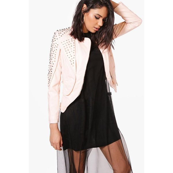 BOOHOO Bella Boutique Studded Biker Jacket - Wrap up in the latest coats and jackets and get out-there...