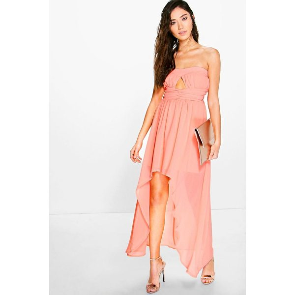 BOOHOO Bella Chiffon Pleat Detail Bandeau Dip Hem Dress - Dresses are the most-wanted wardrobe item for day-to-night...