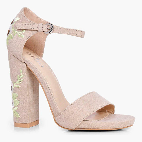 BOOHOO Bella Embroidered Block Heel Two Parts - We'll make sure your shoes keep you one stylish step ahead...