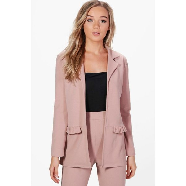 BOOHOO Bella Frill Pocket Blazer - Wrap up in the latest coats and jackets and get out-there...