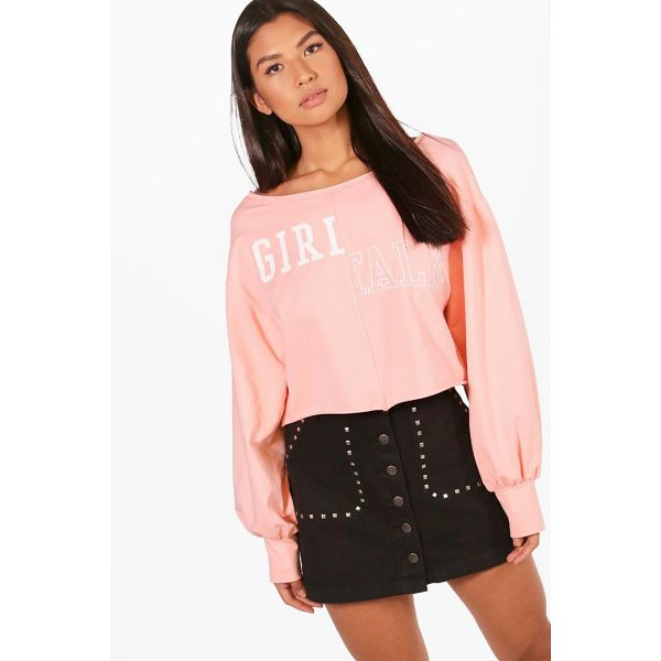 BOOHOO Bella Slogan Oversized Crop Sweat - Steal the style top spot in a statement separate from the...